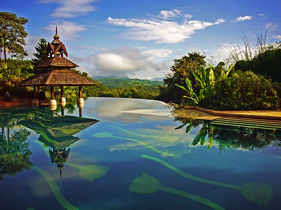 Anantara Golden Triangle Resort, Infinity Edge Pool,  Chiang Rai
