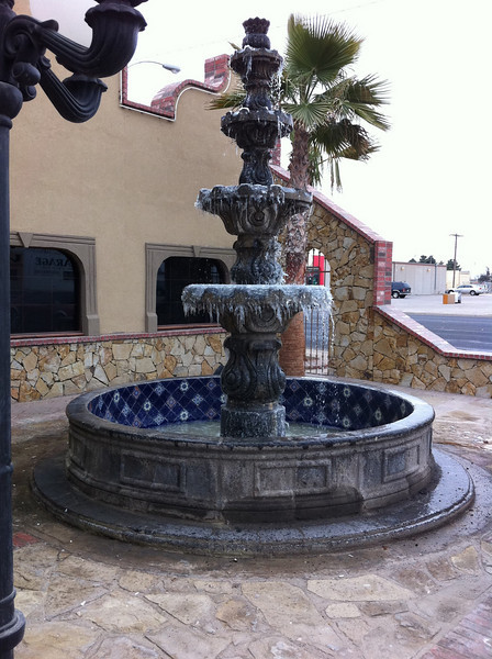 Jan 12 2011. U know it's cold when the fountains have ICE in the middle of the afternoon.