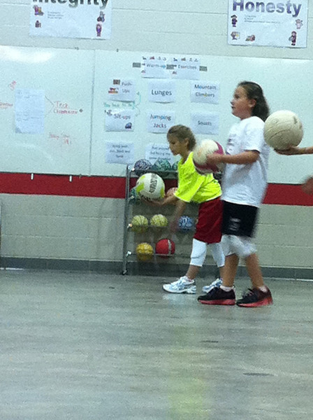 Rylie's first day of volleyball practice.