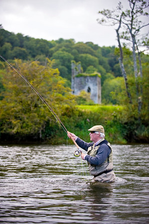 River Nore - Salmon angler fly fishing on the River Nore, Thomastown, Kilkenny, Ireland