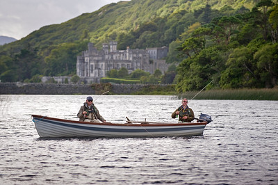 Kylemore Abbey - Fly anglers fishing for sea trout  and salmon at Kylemore Abbey, Connemara, Ireland