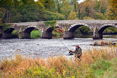 River Maine - Fishing for Dollaghan trout at the end of the season on the River Maine at Shane's Castle, Antrim, N Ireland