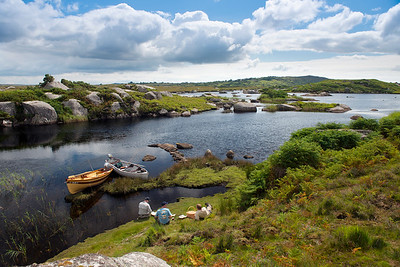 Screebe Fishery - Salmon / sea trout fly fishermen stop for lunch on Screebe, Co Connemara, Ireland