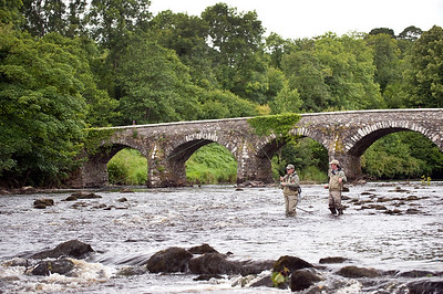 River Maine - Fly fisherman with guide playing a trout at Shane's Castle, River Maine, Co Antrim, Ireland