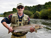 River Nore - Fly anglerwith salmon, on the River Nore, Thomastown, Co Kilkenny, Ireland