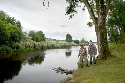 River Slaney - Anglers view a good salmon and sea trout pool on the River Slaney, Ireland