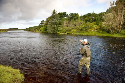 Owenduff River - Playing a seatrout in the Owenduff River, Bangor Erris, Co Mayo, Ireland