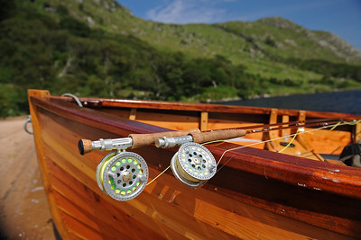 Fly fishing tackle sitting in a traditional Irish fishing boat