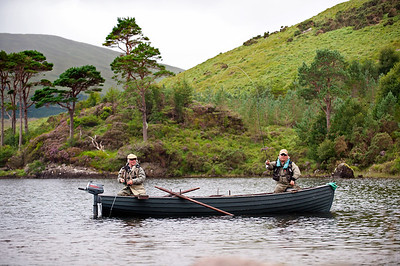Fin Lough - salmon and sea trout fly fishermen on Fin Lough, Delphi Fishery, Connemara, Ireland
