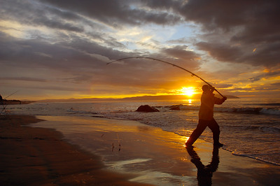 Lough Foyle - Angler casts into sea at Downhill, Co Londonderry, N Ireland
