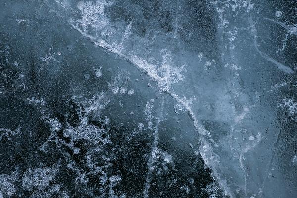 Ice on a frozen Montana Lake