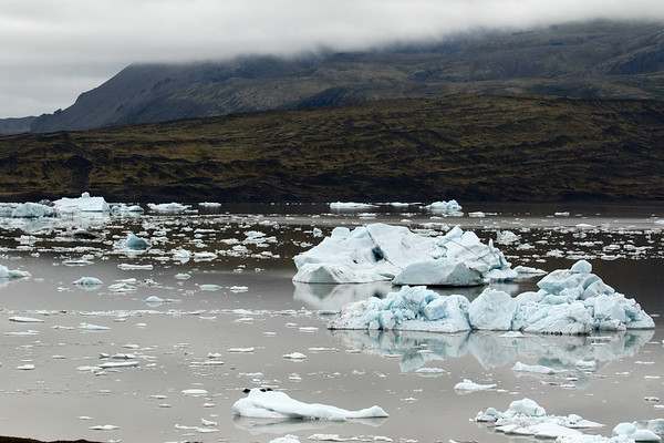 Fjallssárlón (Mountain Lagoon) amongst the icebergs, bergy bits, and growlers - across the terminal moraine glacial till - up to the lower eastern slopes along the Öræfajökull, a central volcano - Eastern region of Iceland.