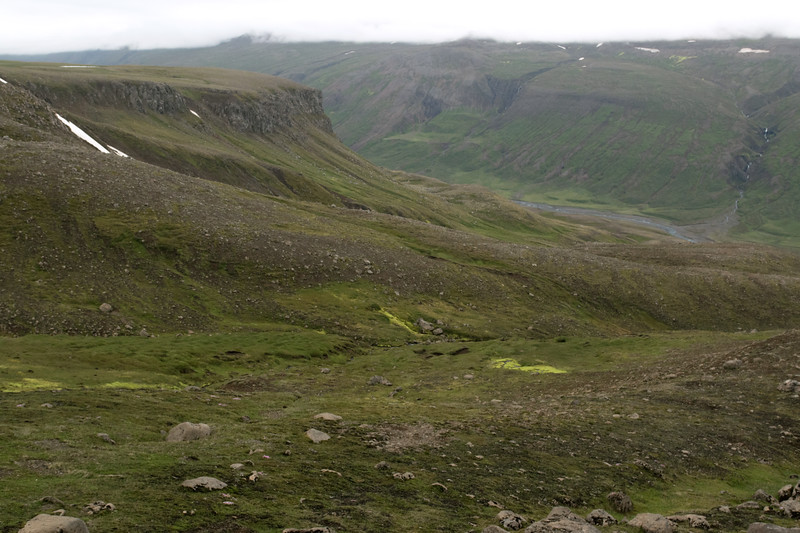 From the slopes and ridges of the Seldalsfjall (mountain) - across to the Saudá (river) flowing down the Vindfellfjall (mountain) and into the Dalsá  (river) - Eastern region of Iceland.