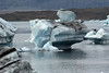 Weather sculpted icebergs, cloaked with glacial till upon the Jökulsárlón (Glacier River Lagoon).