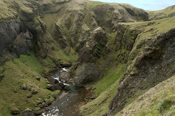 Up the Fjaðrá (river) - and the extrusive volcanic rock slopes and ridges along the Fjaðrárgljúfur (gorge), cloaked with moss, lichen, herb, grass, heath, and willow - Katla UNESCO Global Geopark - Southern region of Iceland.