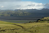 Across the western slope with its trodded trail, to the ridge of the Hjörleifshöfði (headland) - down to the sand outwash plain of the Mýrdalssandur, along the Múlakvísl (river) - to the distal slopes of the Katla Volcano, with atop Iceland's 4th largest ice cap, the Mýrdalsjökull.