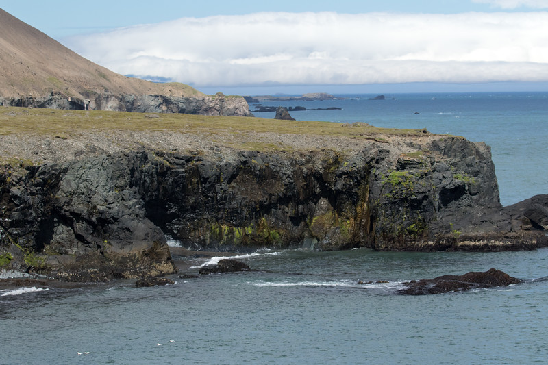 Volcanic rock sea cliffs and islets below the lower slope of the Mælifell (mountain).