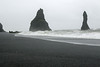 Reynisfjara (beach), a couple of  hours before high tide - North Atlantic waves - Reynisdrangar (pillars).