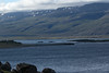 From the cloud-shadowed southern shoreline of the Breiðdalsfjörður (Wide Valley Fjord) - across to the snow patches and cloud bank along its northwestern slopes.