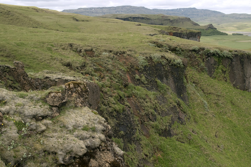 Moss, lichen, herb, grass, heath, and willow vegetation along the slope and ridge of the Klaustursheiði (heath) vegetated plateau - Katla UNESCO Global Geopark.