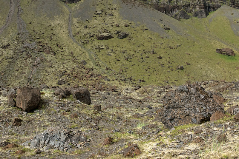 Volcanic scree and talus boulders along the base of mount Lómagnúpur (peak).