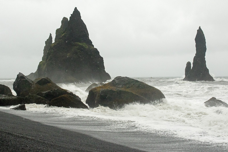 Reynisdrangar (pillars) or sea stacks - North Atlantic waves - Reynisfjara (beach).