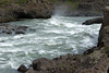 Down the glacial water rapids of the Skjálfandafljót River - to the mist above the crest of the Geitafoss (waterfall).