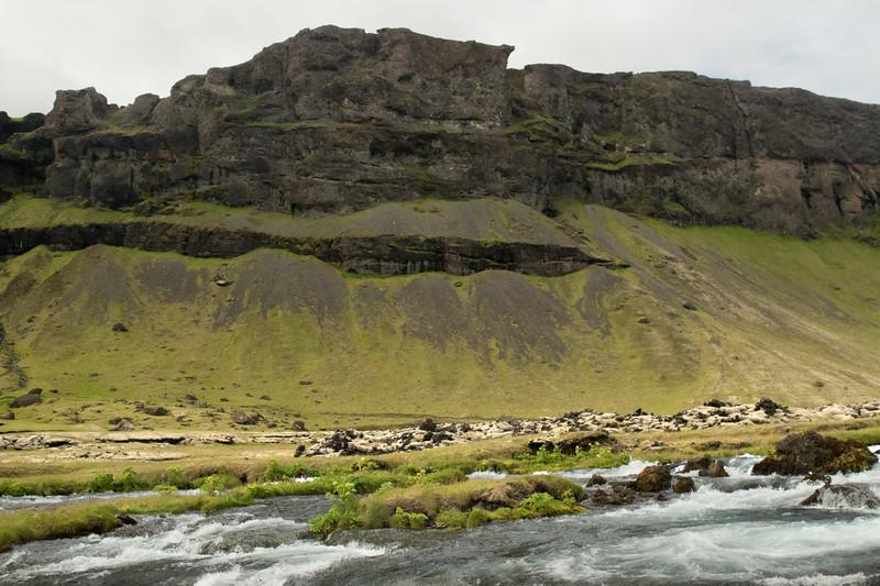 Fossalar (river) - Brunahraun (lava field) - Þverárfjall (mountain).