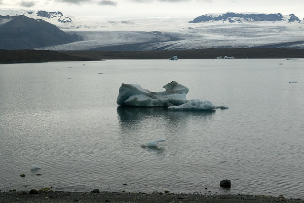 "Jökulsárlón (lagoon) with icebergs, bergy bits, and growlers upon - technically, the dimensions of calved glacial ice must exceed > 15 ft. (5 m) above the water surface to be called an ""iceberg"" - smaller fragments are known as ""bergy bits"" (measuring from 3-15 ft./1-5 m, above the water surface) - and ""growlers"" (up to 3 ft./1 m, above the surface) - distal is the glacial moraine, then the Breiðamerkurjökull (glacier), amongst the Breiðamerkurfjall (mountain) with directly beyond the Fjölsvinnsfjöll (mountains), and (r) to the volcanic rock at the Mávabyggðir."