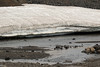 Early July snow bank along the Fjarðará (Fjord River), sourced from the Heidarvatn (lake) - Eastern region of Iceland.