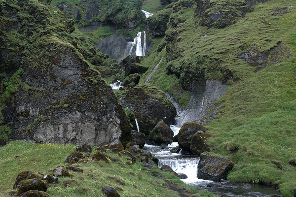 Cascading falls, sourced by the Uxafótarlækur (creek) - the lower southern slope of the Katla Volcano.