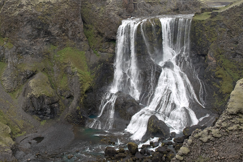 Fagrifoss - a cataract falls (large, powerful, and rushes down with force, in a near direct drop, and is typically accompanied by rapids) - here along the Geirlandsá (river).