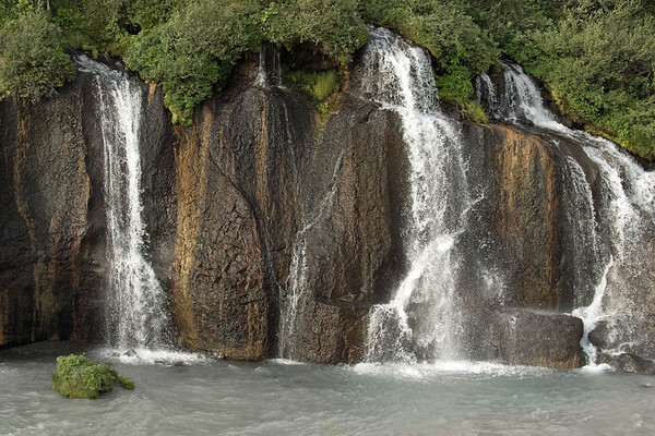 Hraunfossar (Lava Falls) - spring water flowing into the Hvítá (river).