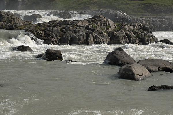 Urriðafoss (Sea Trout Falls) - among the volcanic rock island and basalt boulders - along the Thjorsá (river).