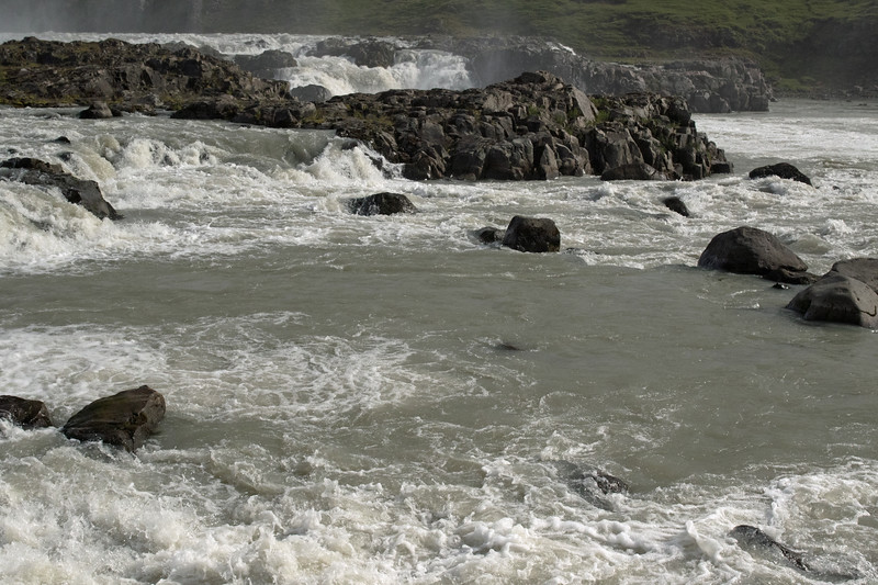 Urridafoss - cascading amongst the igneous basalt rock - along the Thjorsá (river).
