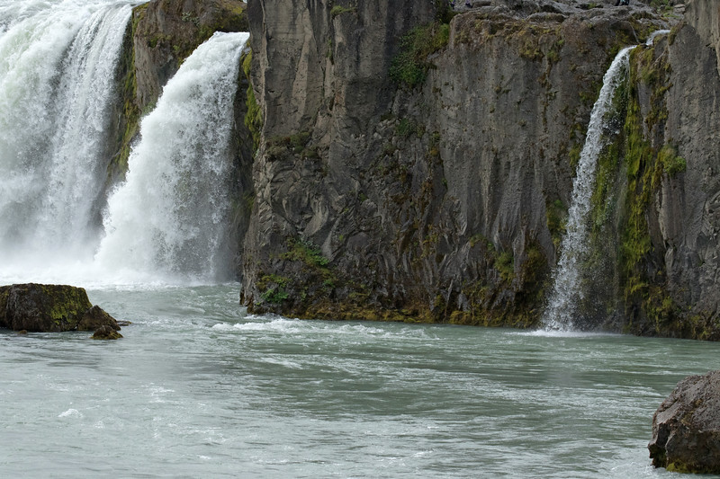 Goðafoss (Waterfall of the Gods) - the northern area of the semi-horseshoe shaped falls - sourced by the Skjálfandafljót (river).