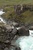 Fardagafoss among volcanic rock and lithophitic vegetation - Fjarðará (Fjord River).