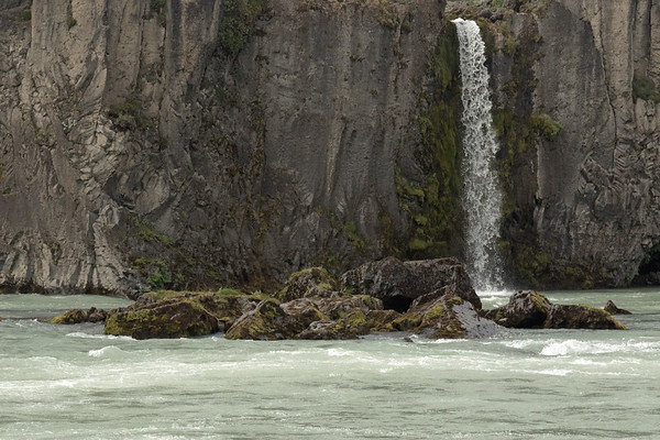 Goðafoss (Waterfall of the Gods) - the northernmost falls along its divided crest - from here along the Skjálfandafljót (river).