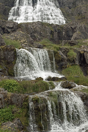 From the cascading falls along the Dynjandisá (river), where it splits to the west of the adjacent Gongumannafoss - up to the Dunjandi Falls, a Natural Monument of Iceland.