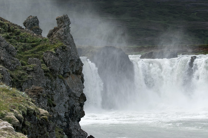 From the volcanic clustered with moss, lichen, grass, and heath - thru the mist and across the Skjálfandafljót (river) - to Goðafoss (Waterfall of the Gods).