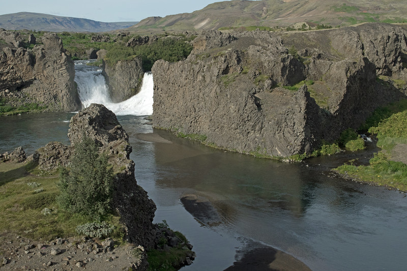 Fossá (river) to Hjálparfoss (Helps Falls) - along the Þjórsárdalur (valley), which is part of the Þjórsárhraun (lava field), the greatest lava flow on Earth since the end of the last Ice Age.  The volcanic eruption came around  6700 BC, and today the Þjórsárhraun covers about 376 sq. mi. (975  sq. km) and a volume of around 6 cu. mi. (25 cu. km).