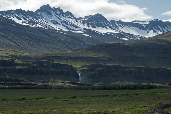 Foss along the Halsfjall (mountain) - western area of the Hamarsfjörður (fjord).