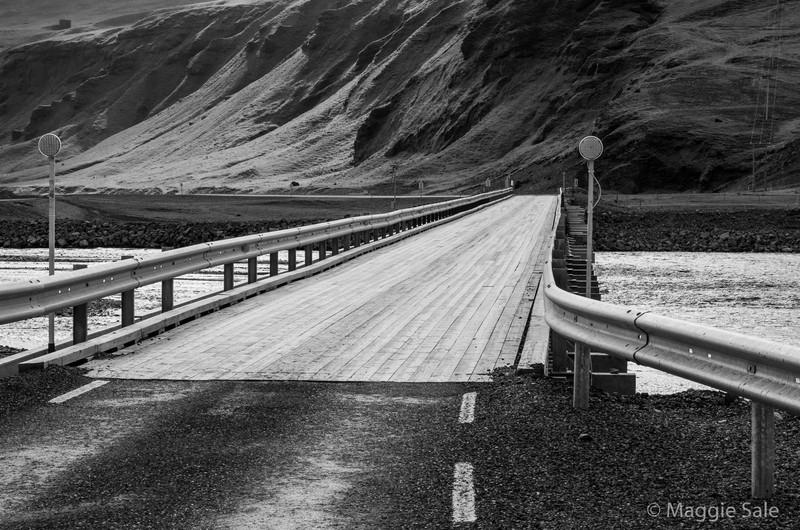 Bridge over glacial river along south coast east of Vik
