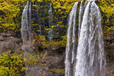 Iconic Seljalandsfoss waterfall frontal view, Southern Iceland