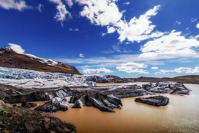 Mocha brown glacier lagoon