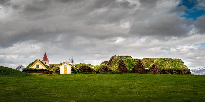 Turf Houses and Church Glaumbær, Skagafjardarsysla