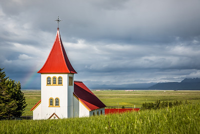 Rainbow - Oddi Church | Hella, Iceland