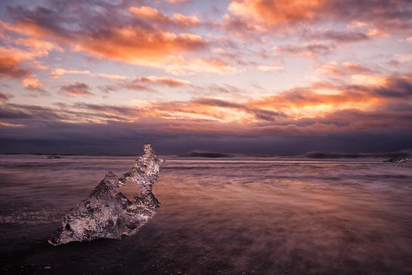 Ice on the black beach, Vík, Iceland