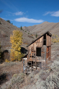 The old house out Bulliion Gulch in Oct 2009.  I guess some vandals tore some wood off the structure sometime later that fall.
