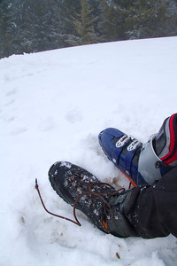Changing into ski boots.  A hard book was definately nice for walking up the firm snow.